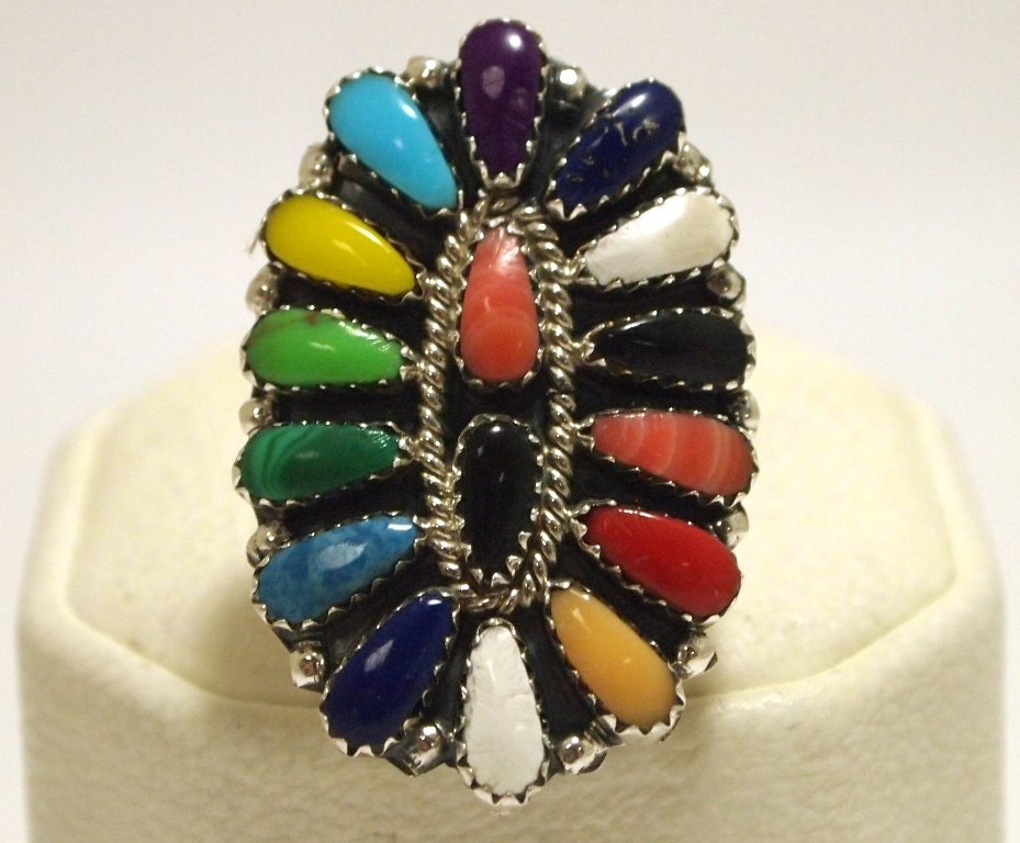 Navajo Multi-Stone Cluster Sterling Silver Women's Ring