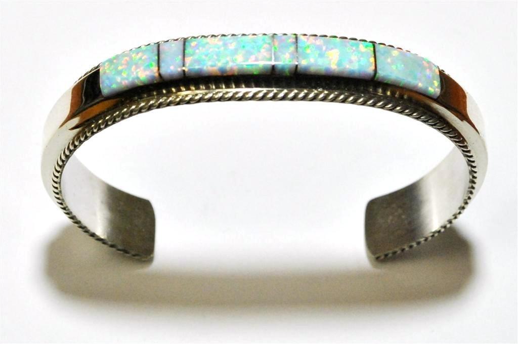 Navajo Opal Inlay Sterling Silver Cuff Bracelet - Fran