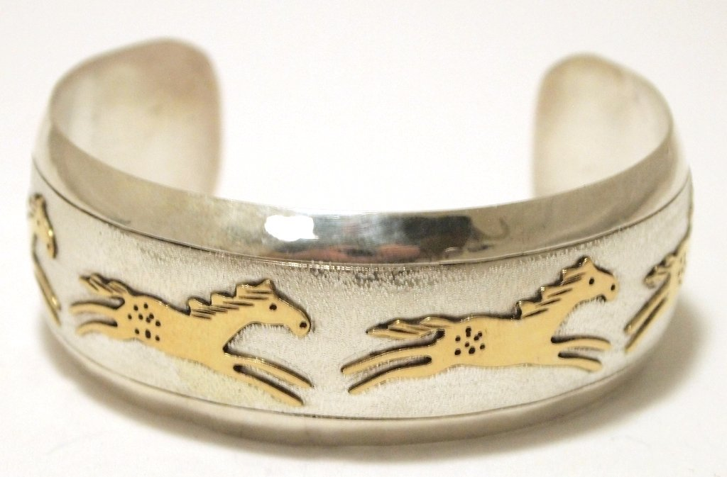 Navajo 12k Gold Fill Small Horses over Sterling Silver