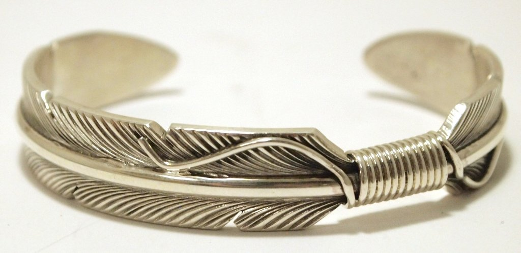 Navajo Sterling Silver Feather Thick Heavy Cuff