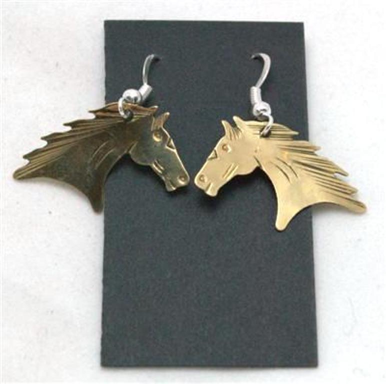 Navajo Pressed Horse Head Brass Earrings - Virgil
