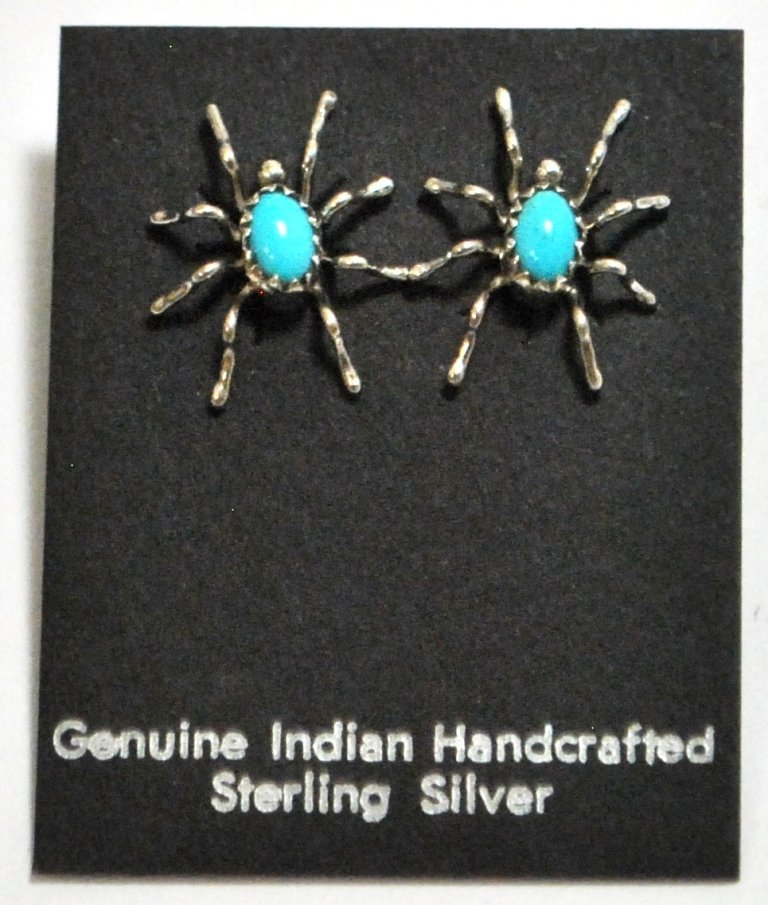 Navajo Turquoise Spider Sterling Silver Post Earrings -