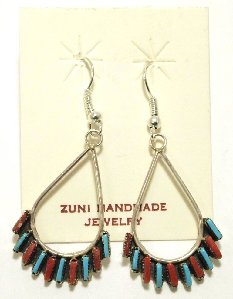 Zuni Coral & Turquoise Petit Point Sterling Silver