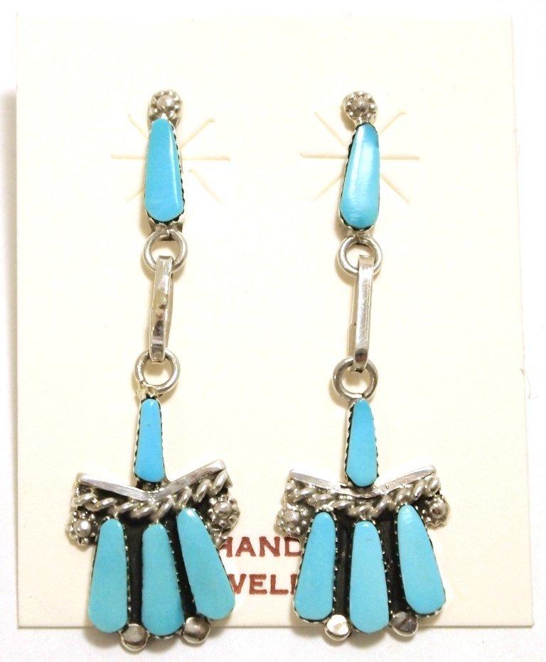 Zuni Turquoise Sterling Silver Post Earrings - Carlene