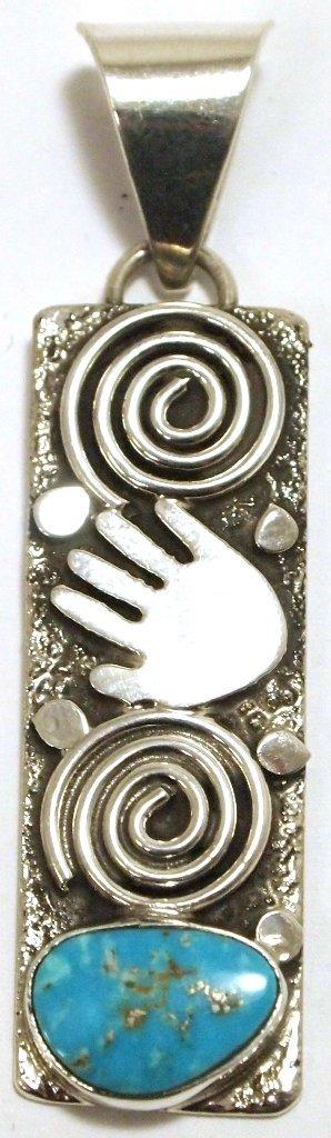 Navajo Turquoise Sterling Silver Pendant - Alex Sanchez