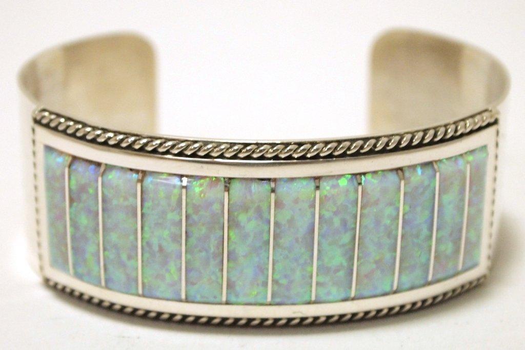 Zuni Light Opal Sterling Silver Cuff Bracelet - Emery
