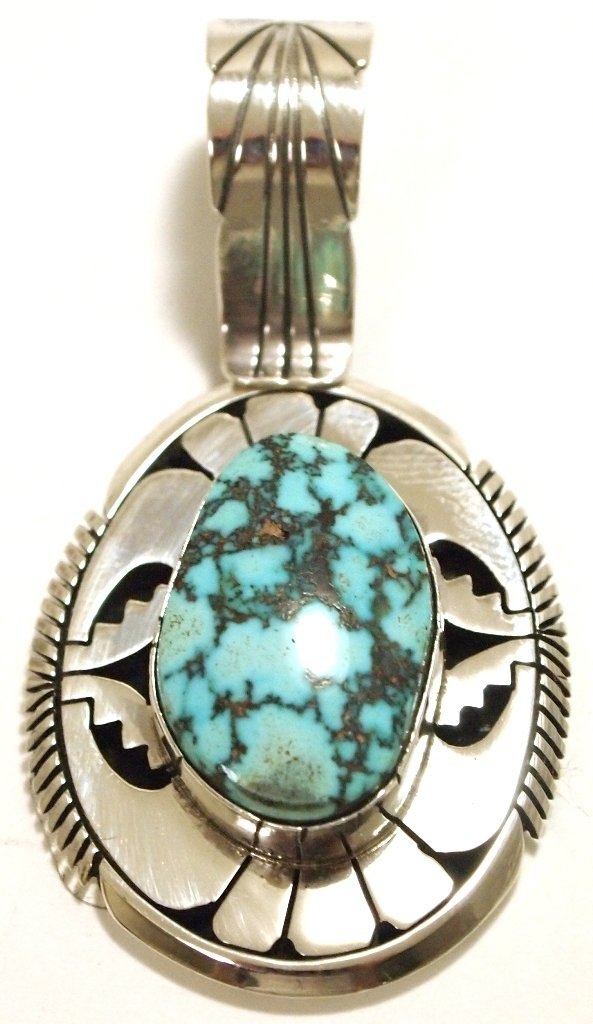 Navajo Spider Web Turquoise Sterling Silver Pendant -