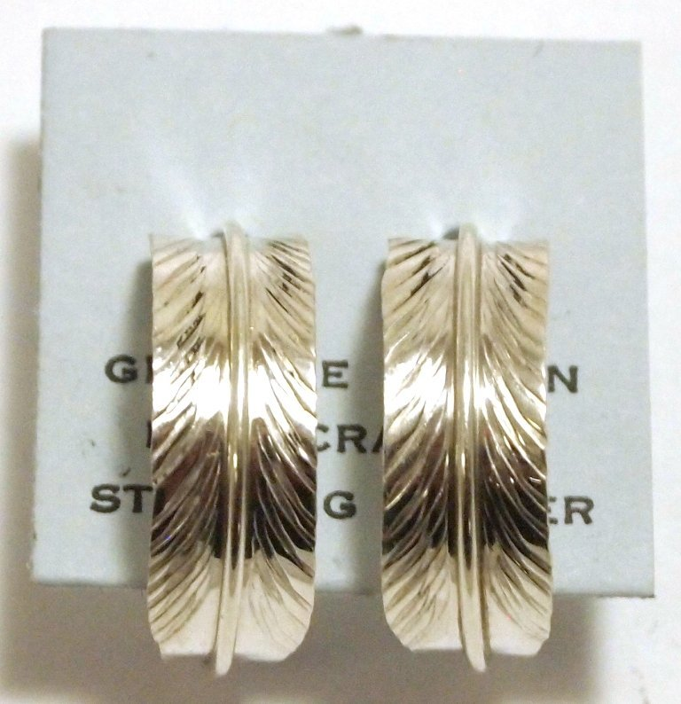 Navajo Sterling Silver Feather Half-Ring Post Earrings
