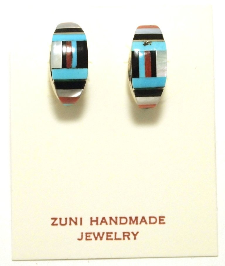 Zuni Multi-Stone Inlay Sterling Silver Half-Ring Post