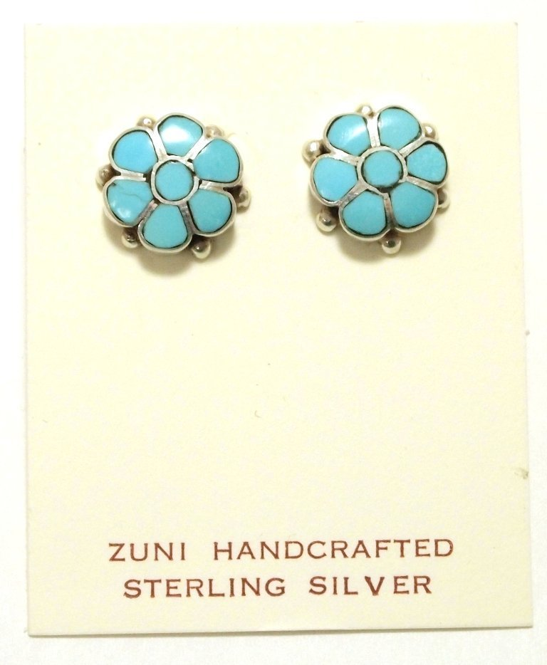 Zuni Turquoise Inlay Flower Sterling Silver Post