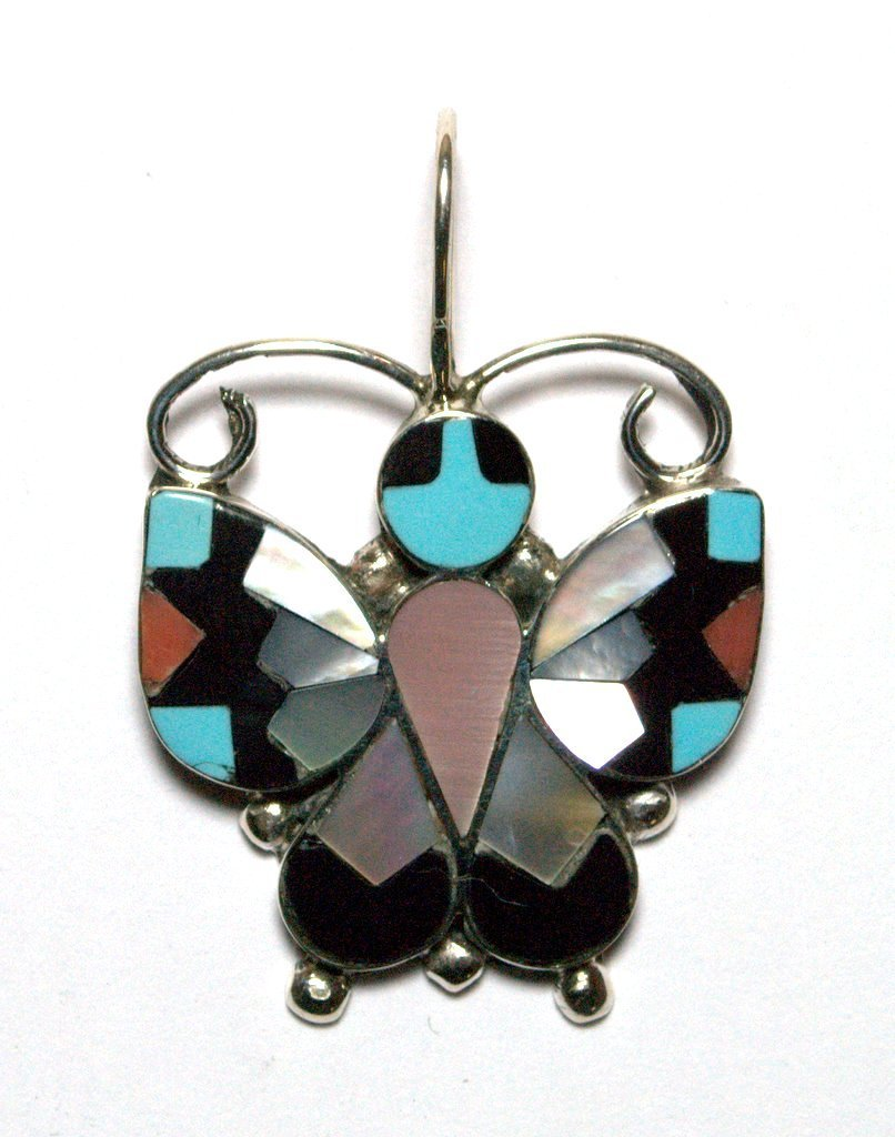 Zuni Multi-Stone Inlay Butterfly Sterling Silver