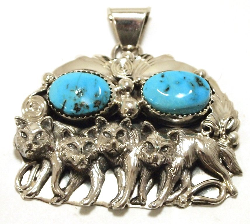 Navajo Turquoise Sterling Silver Three Wolves Pendant -
