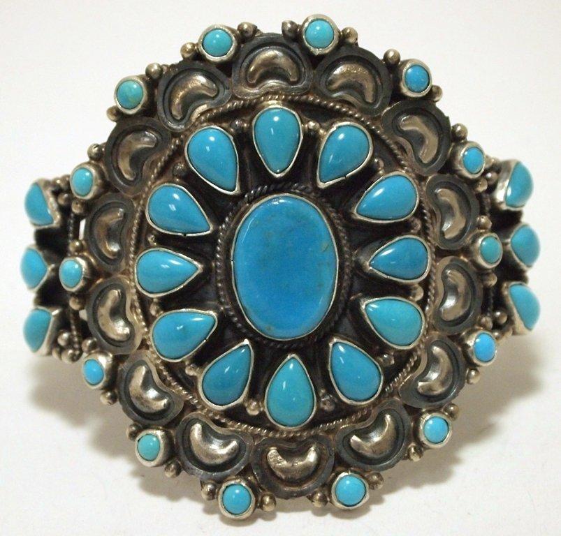 Navajo Turquoise Sterling Silver Cuff Bracelet - Dean