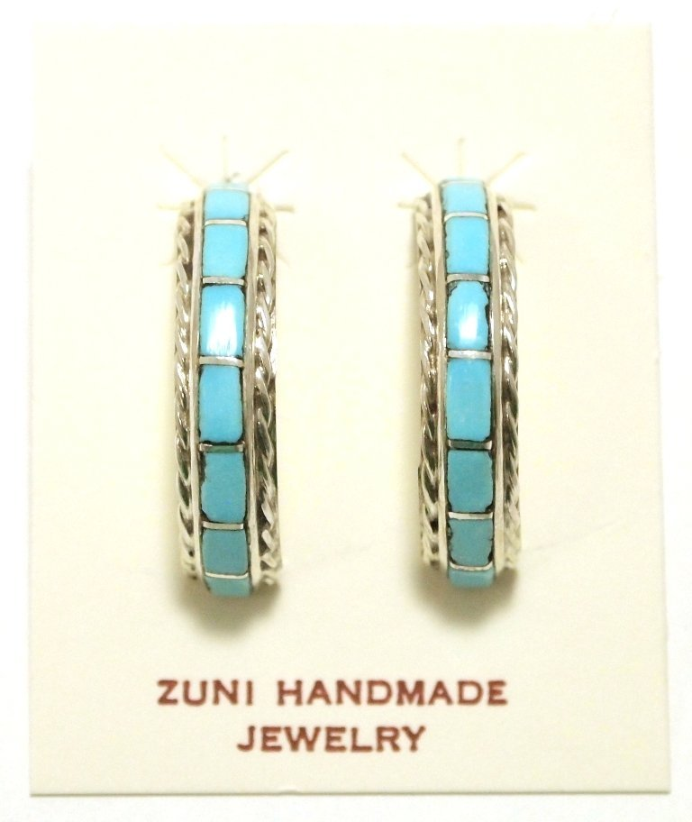 Zuni Turquoise Inlay Sterling Silver Half-Ring Post
