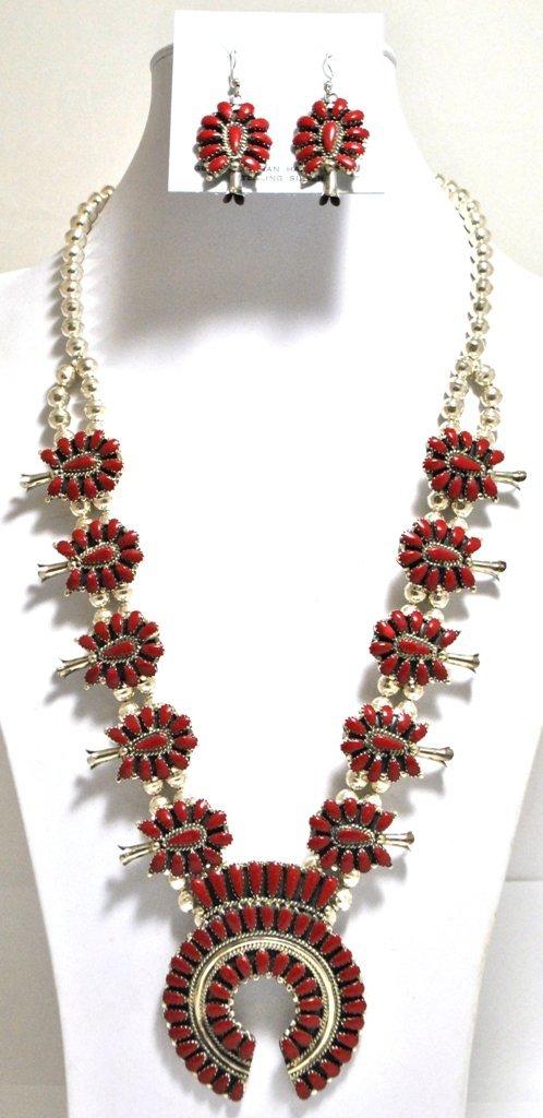 Navajo Coral Squash Blossom Sterling Silver Necklace &