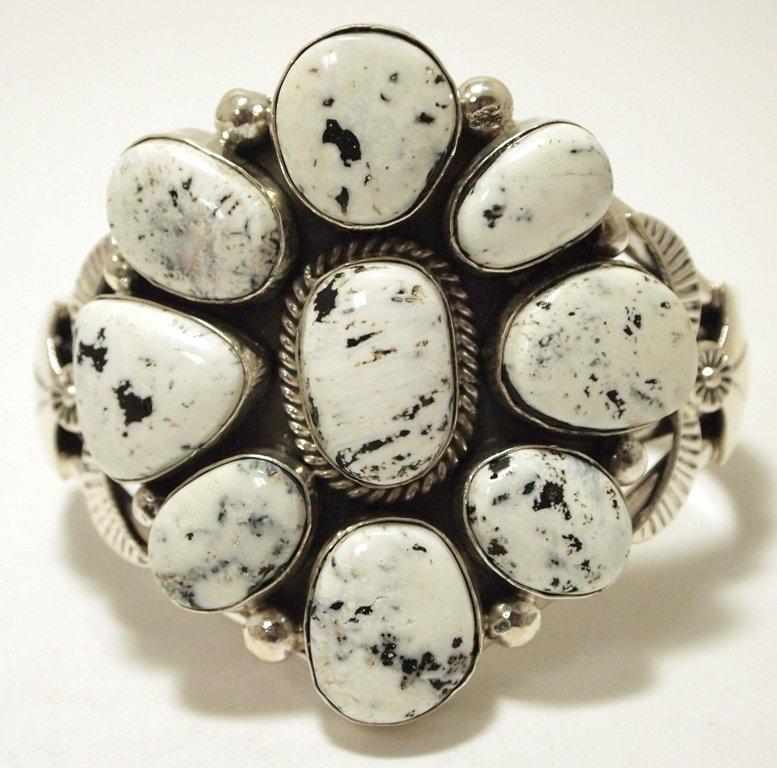 Navajo White Buffalo Sterling Silver Cuff Bracelet -