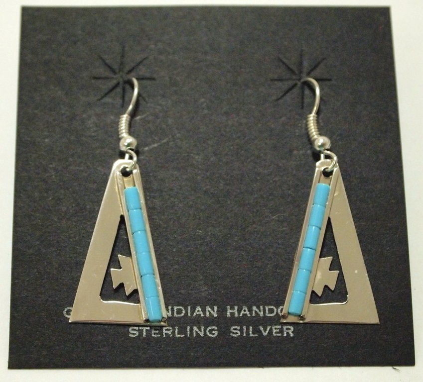 Navajo Turquoise Overlay Sterling Silver French Hook