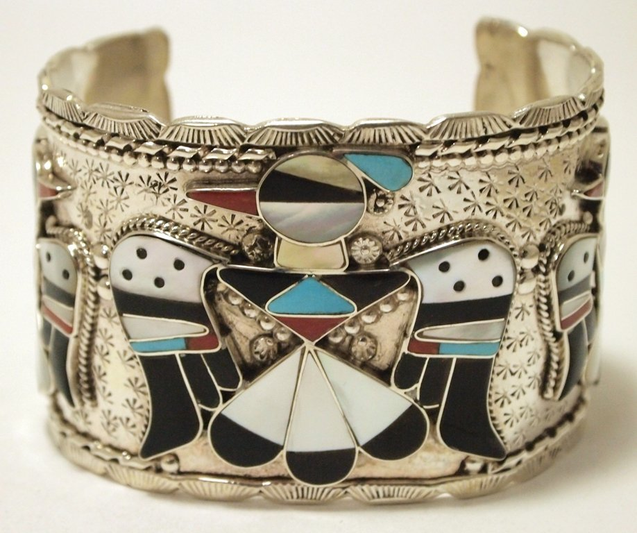Zuni Multi-Stone Inlay Thunderbird Sterling Silver Cuff