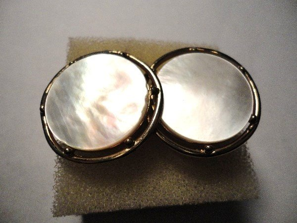 7: VINTAGE MOTHER  OF PEARL  CUFF LINKS