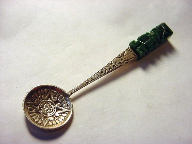 4: MEXICAN STERLING CARVED ONYX SPOON