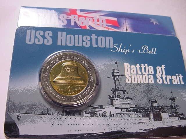 11: 2002 USS HOUSTON HMAS PERTH AUSTRALIA $5.00 COIN