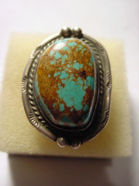 20: YA Z NAVAJO SILVER TURQUOISE RING SIZE 7