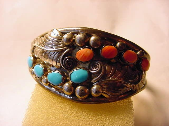 5: SIGNED NAVAJO SILVER TURQUOISE CORAL BRACELET