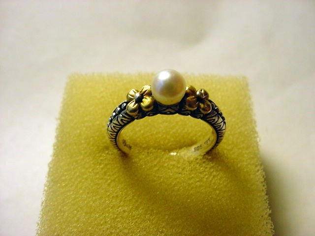 13: STERLING 18K GOLD PEARL RING RING  SIZE  7