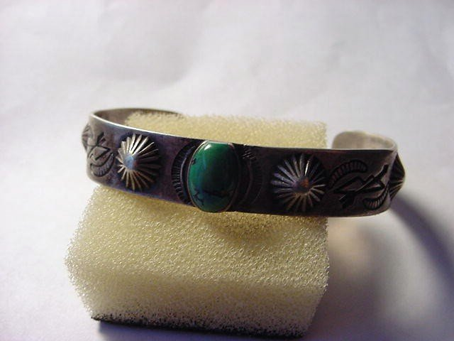 14: EARLY NAVAJO SILVER TURQUOISE BRACELET