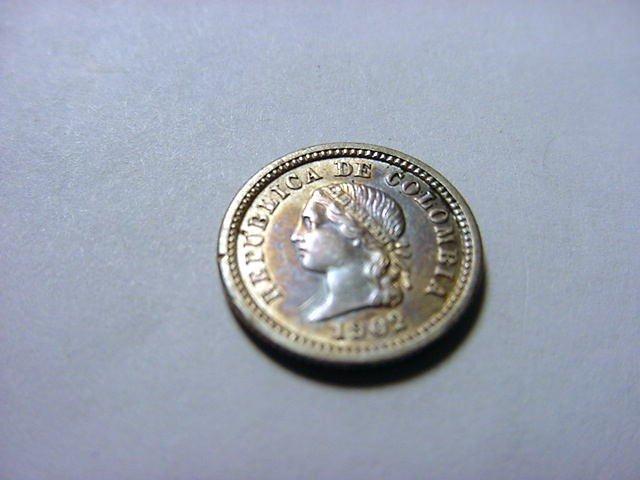 20: 1902 COLUMBIA 5 CENTAVOS SILVER COIN