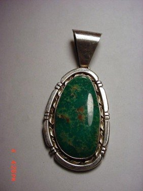 8: SIGNED NAVAJO STERLING TURQUOISE PENDANT