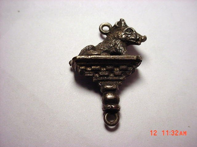 3: ANTIQUE SILVER BOAR PENDANT