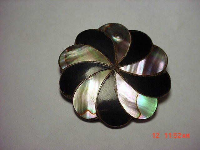 9: MEXICAN STERLING ONYX ABALONE PIN