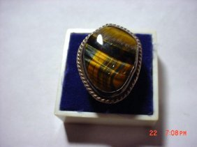 7: SILVER TIGERS EYE RING