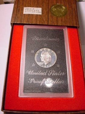 12: 1973-S EISENHOWER SILVER DOLLAR GEM PROOF IN PRESEN
