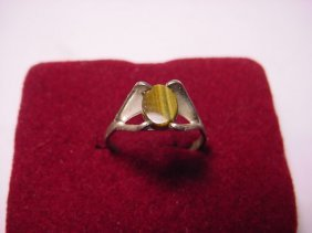 16: MODERNIST STERLING TIGERS EYE RING SIZE 8