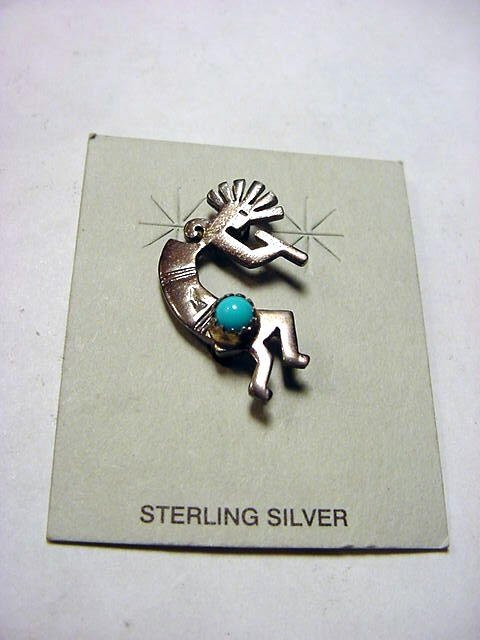56: NAVAJO DANCER SILVER TURQUOISE PIN