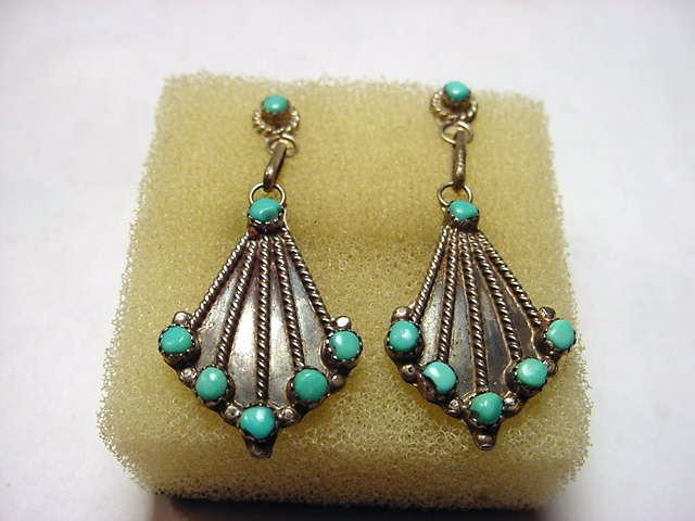 62: VINTAGE SILVER TURQUOISE DANGLE EARRINGS