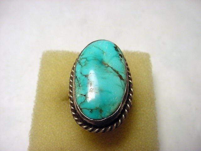 322: NAVAJO SILVER TURQUOISE RING SIZE 10