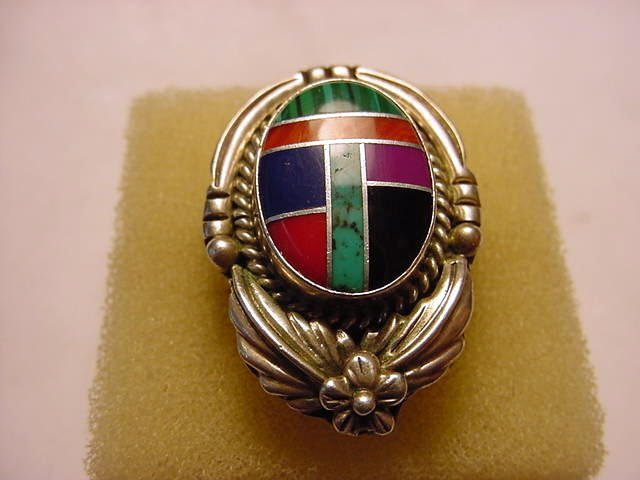 328: ZUNI SILVER INLAID STONES RING SIZE 8