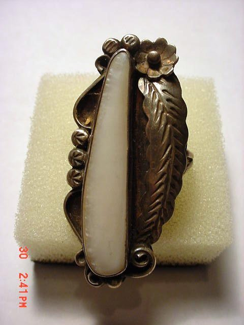3: NAVAJO SILVER MOTHER OF PEARL RING SIZE  6