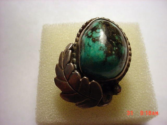 7: NAVAJO SILVER TURQUOISE RING SIGNED ALK