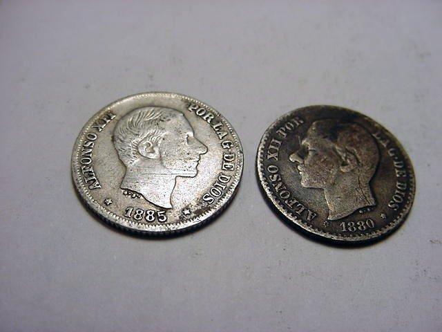 18: 1880 & 1885 PHILIPINES 50 CENTAVOS SILVER COINS