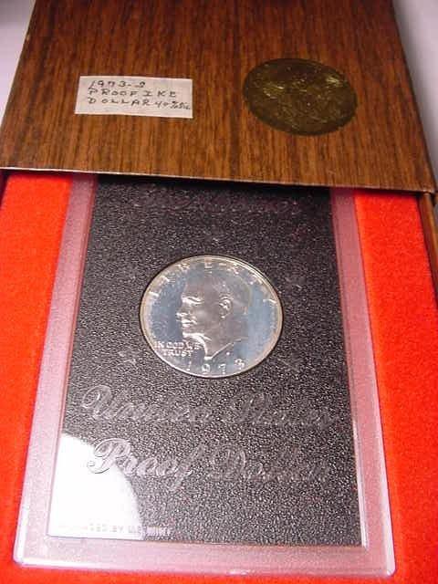 22: 1973 EISENHOWER SILVER DOLLAR GEM PROOF IN ORIG BOX