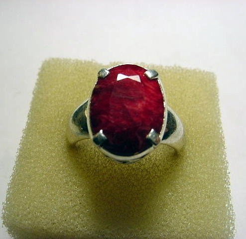 30: NATURAL RUBY STERLING RING SIZE 8