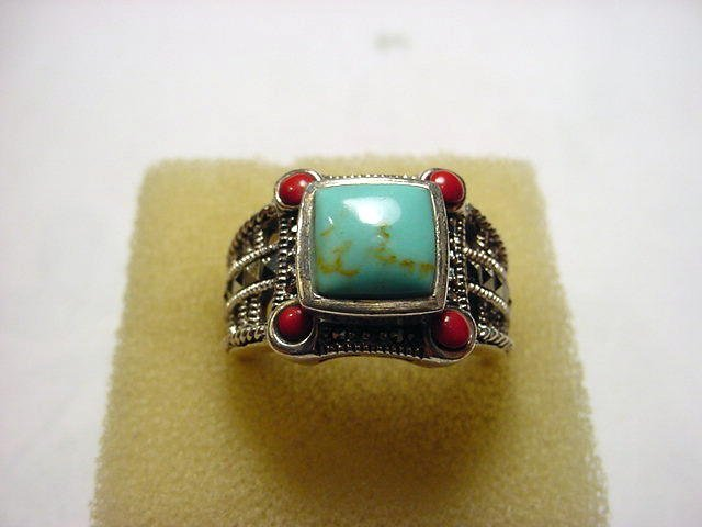 37: STERLING TURQUOISE CORAL RING SIZE 10