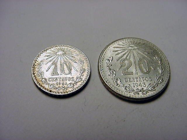 198: 1934 MEXICO 10 CENTAVOS & 1943 20 CENTAVOS UNC
