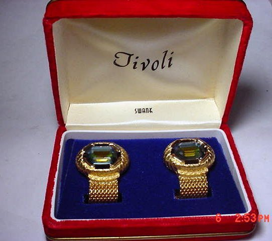734: DESIGNER SWANK TIVOLI CUFF LINKS IN ORIGINAL BOX
