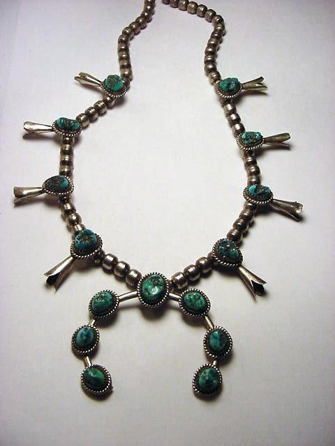 2: NAVAJO SILVER TURQUOISE SQUASH BLOSSOM NECKLACE