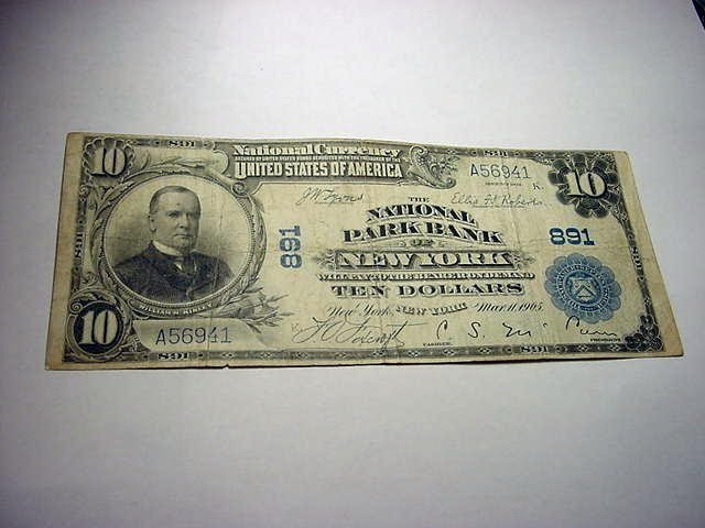 3: 1905 NATIONAL PARK BANK OF NEW YORK $10 BANKNOTE